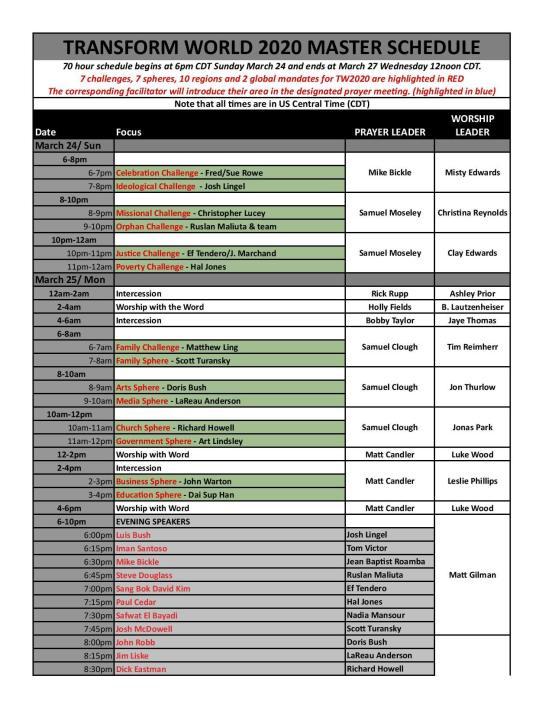 tw2020 Schedule