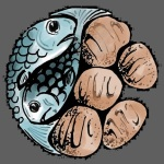 fishes and loaves - grey background