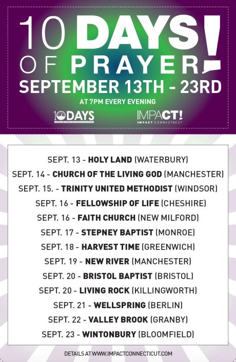 10 Days 2015 Schedule